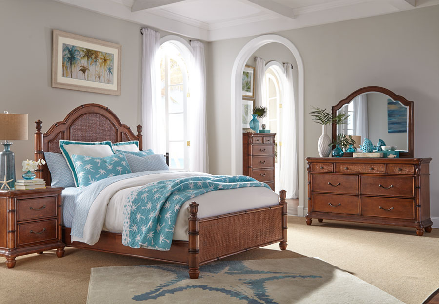 Panama Jack Brown Isle of Palm Queen Headboard, Footboard, Rails, Dresser, and Mirror