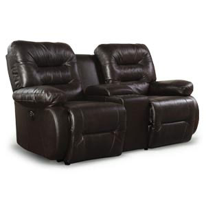 Best Maddox Brown Reclining Leather Match Loveseat