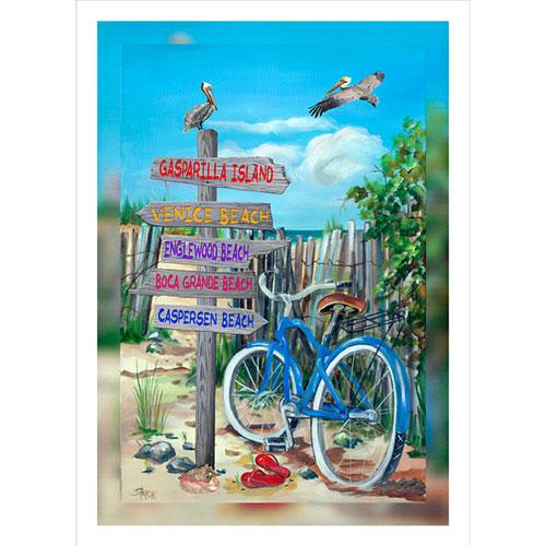 Blue Bike Beach Signs 20 x 30 Canvas Port Charlotte area)