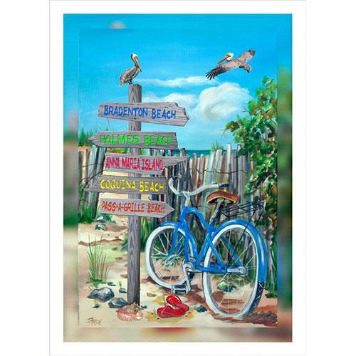 Blue Bike Beach Signs 20 x 30 Canvas (Ellenton area)