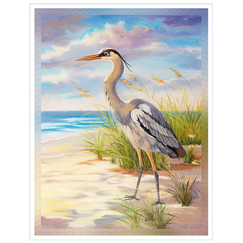 Gray Egret on the Beach 36x48 Canvas Print