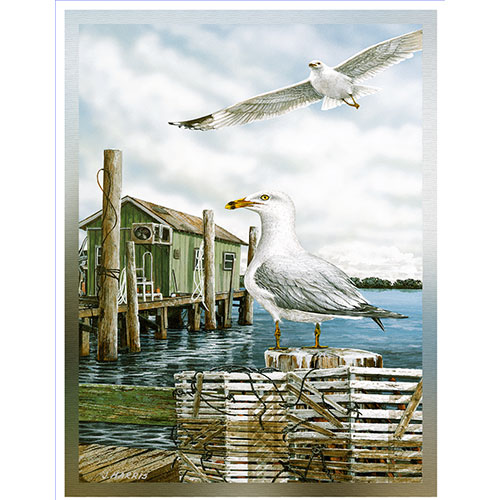 Sea Gulls on Dock 36 x 48 Canvas