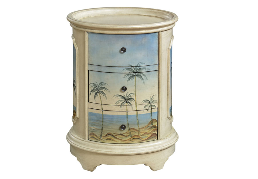 Coast to Coast Three Drawer Oval Chairside Chest with Beach Scene Motif