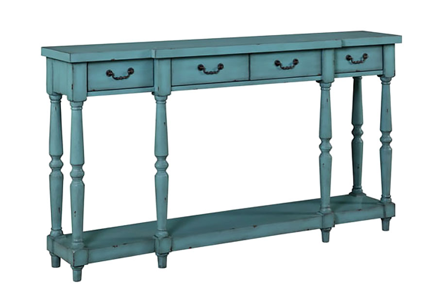 Coast to Coast 81178 Four Drawer Console Table in Teal