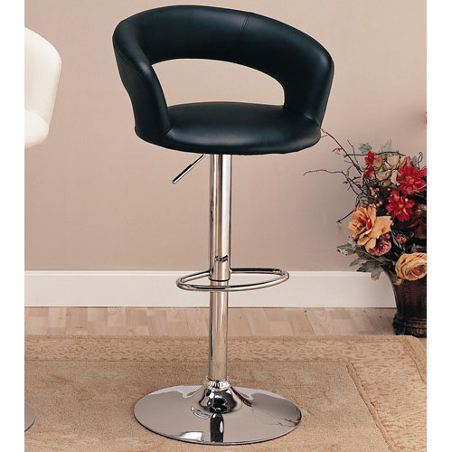 Coaster Adjustable Round Bar Stool in Black