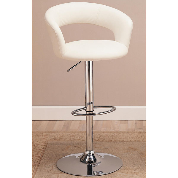 Coaster Adjustable Round Bar Stool in White