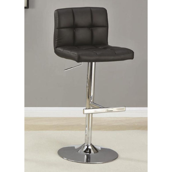 Coaster Adjustable Quilted Back Bar Stool Black
