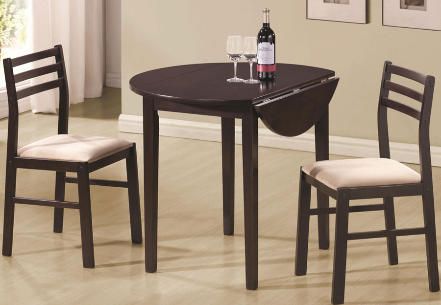 Coaster Drop Leaf Table and Two Side Chairs in Cappuccino