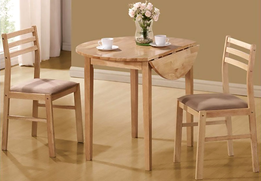 Coaster 3pc Drop Leaf Table and Two Side Chairs in Natural Finish