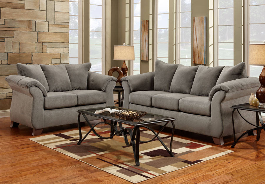 Merveilleux Affordable Furniture Sensations Grey Microfiber Sofa Loveseat 2pc Set