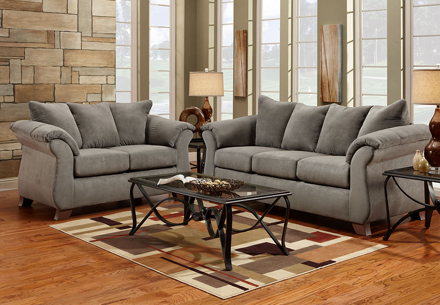 Affordable Furniture Sensation Grey Microfiber Queen Sleeper and Loveseat 2 pc Set