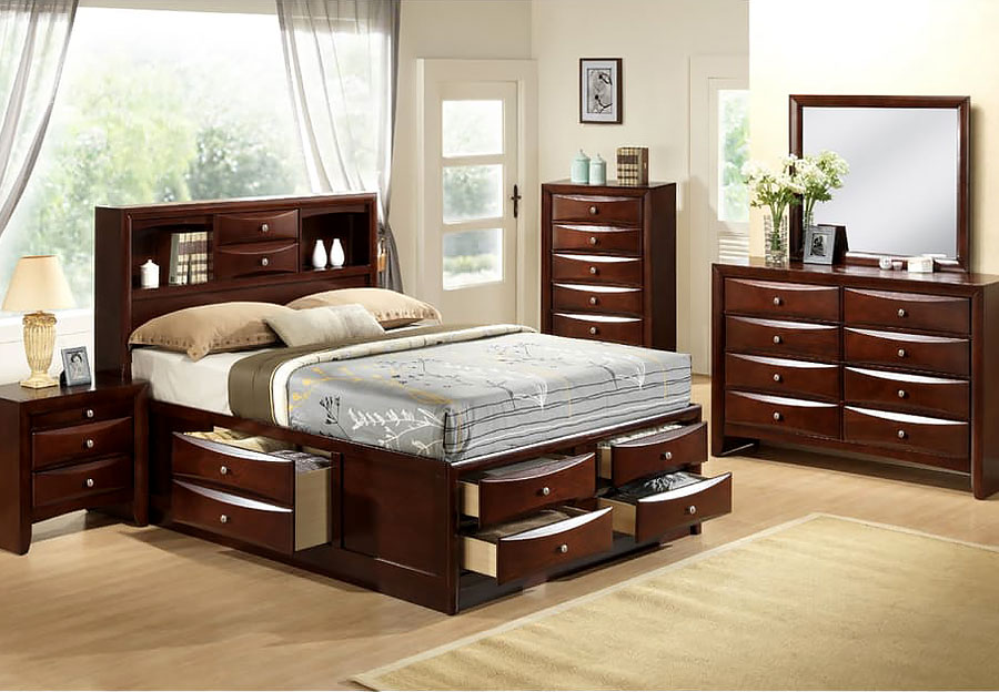 Elements Emily Queen Storage Bed with Dresser, and Mirror