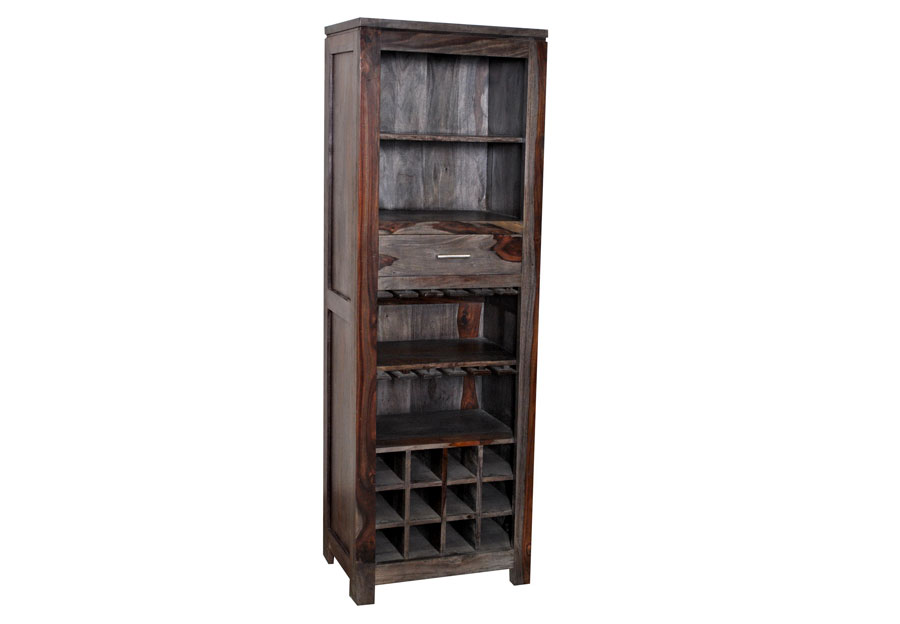 Coast to Coast Grayson Sheesham One Drawer Wine Bookcase