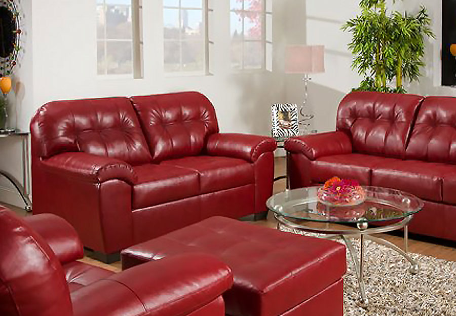 Simmons SoHo Cardinal Showtime Breathable Leather Loveseat