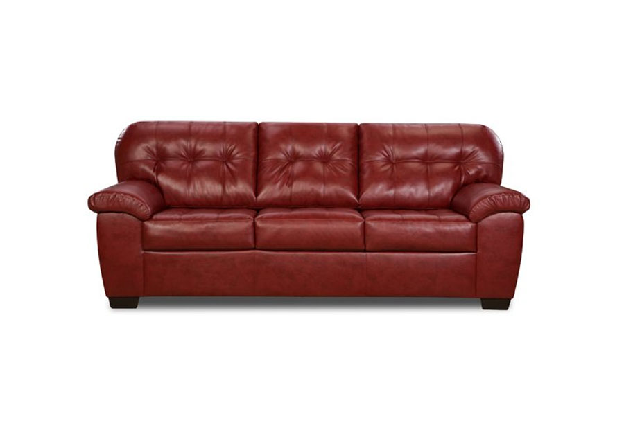 Simmons SoHo Cardinal Showtime Breathable Leather Queen Sleeper Sofa