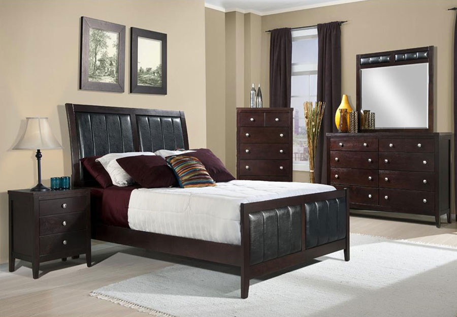 Elements Lawrence Queen Headboard, Footboard, Rails, Dresser, and Mirror