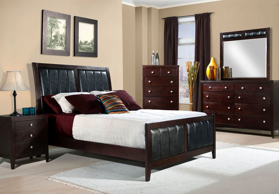 Elements Lawrence King Headboard, Footboard, Rails, Dresser, Mirror, and Nightstand