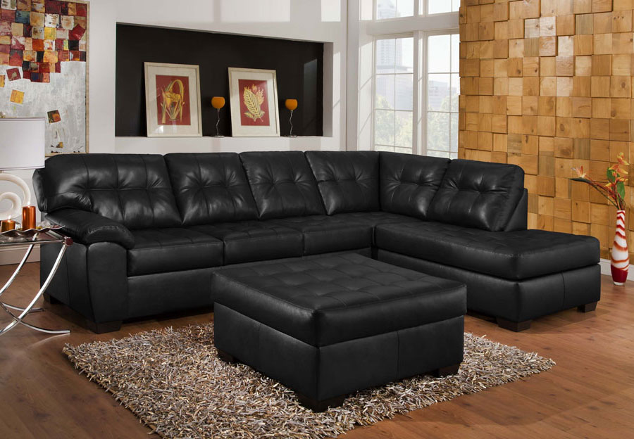 Simmons SoHo Onyx Chaise Sofa Sectional with Cocktail Ottoman