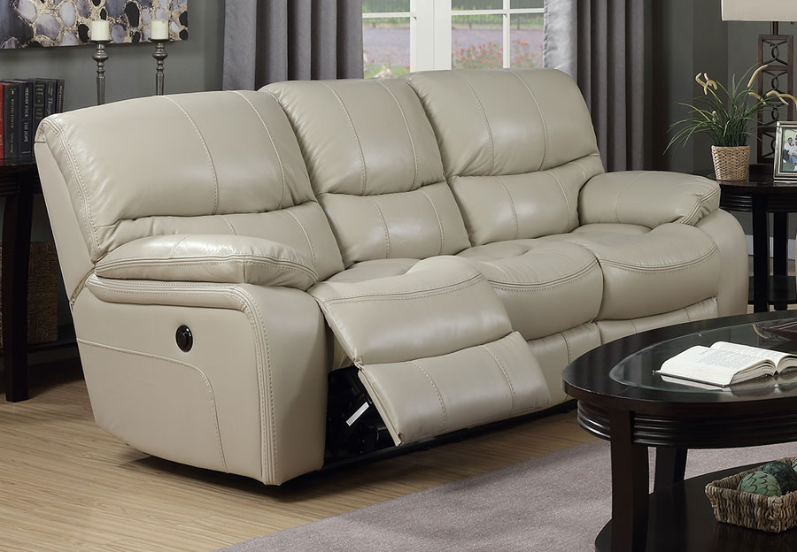 Elements Vino Power Reclining Sofa - Cream Leather Match