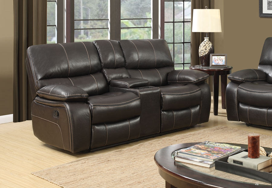 Global Agnes Espresso Power Console Reclining Loveseat in Leather Gel