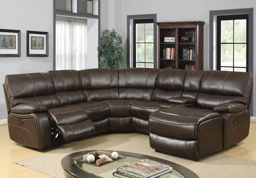 Global Agnes Espresso Reclining Sectional with Chaise in Leather Gel