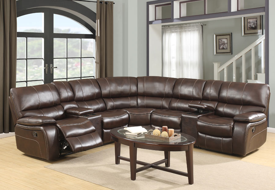 Global Agnes Espresso Reclining Sectional in Leather Gel