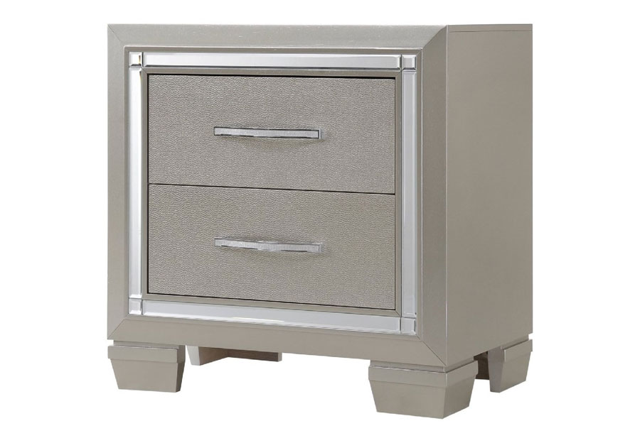 Elements Platinum Two Drawer Nightstand