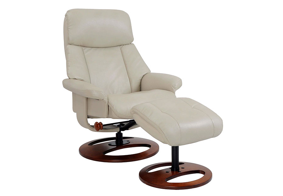 Benchmaster Swivel Chair with Ottoman in Taupe