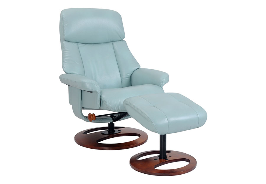 Benchmaster Swivel Chair with Ottoman in Pastel Blue