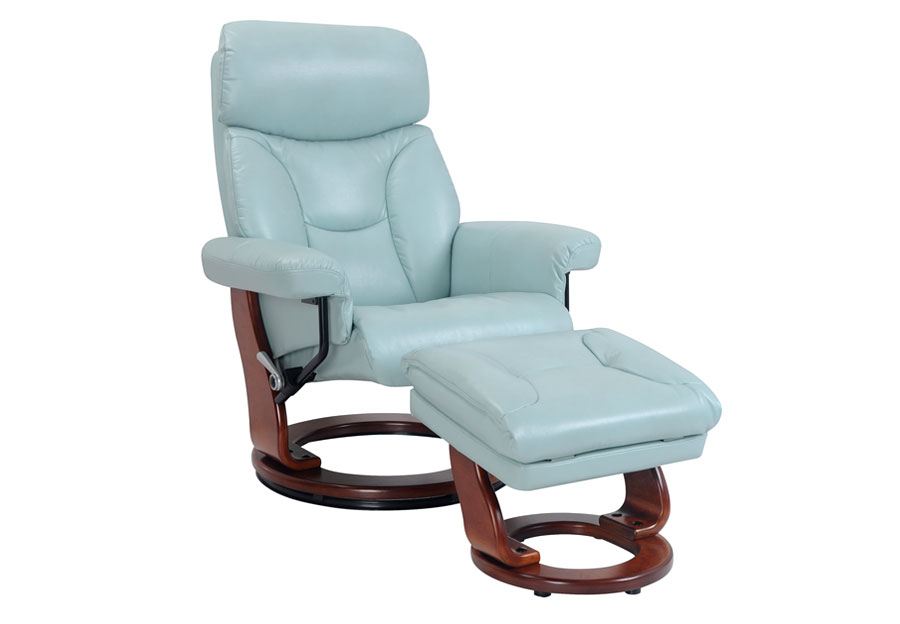 Benchmaster Swivel Chair with Storage Ottoman in Pastel Blue