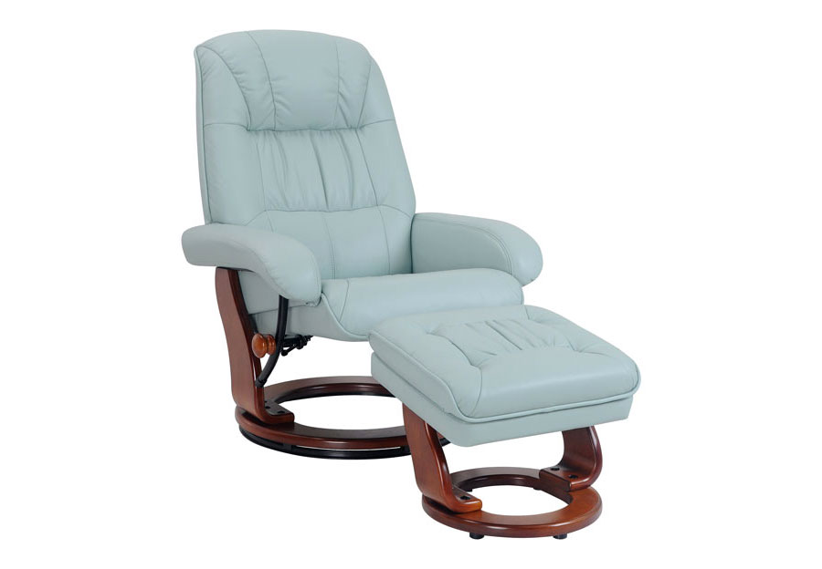 Benchmaster Swivel Pastel Blue Top Grain Leather Chair And Ottoman