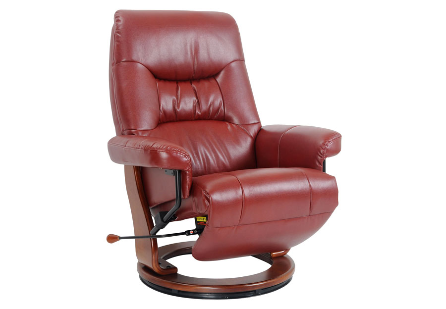 Benchmaster Swivel Reclining Chair in Ruby Breathable Fabric