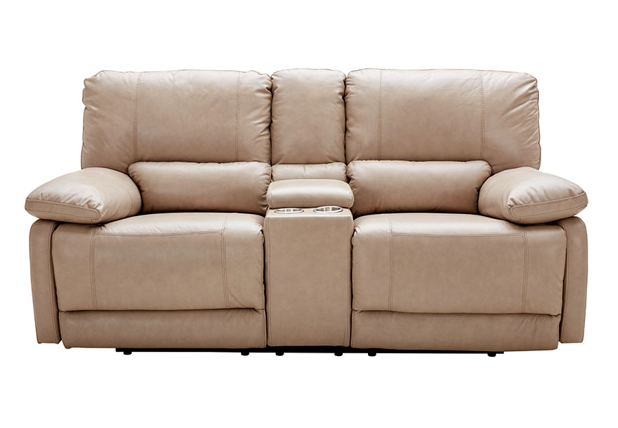 Kuka Maui Sand Reclining Console Loveseat Leather Match