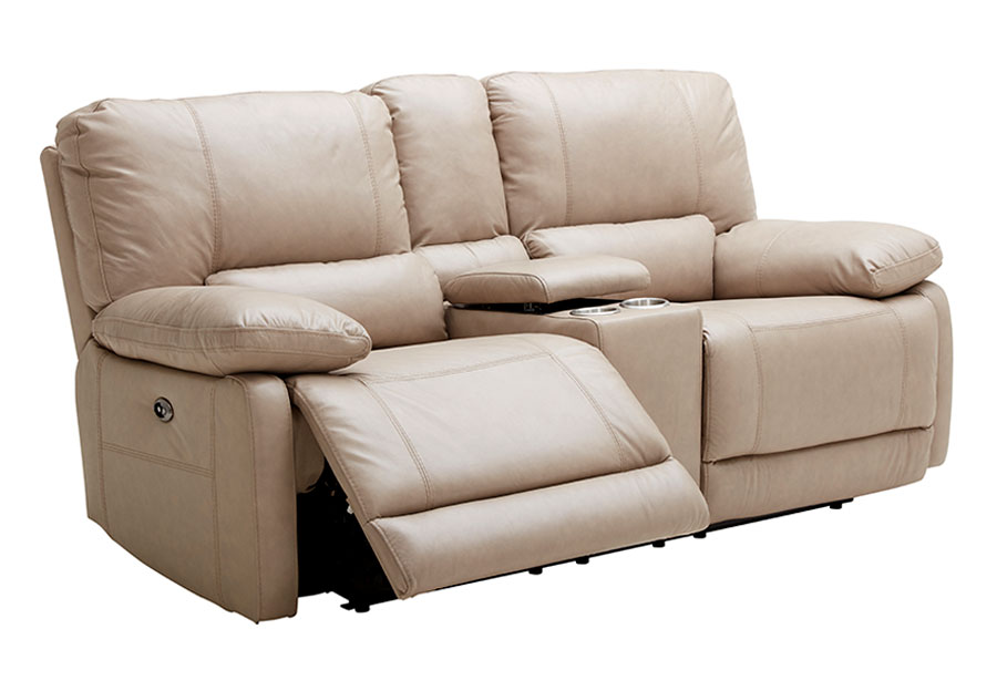 Kuka Maui Sand Power Reclining Console Loveseat Leather Match