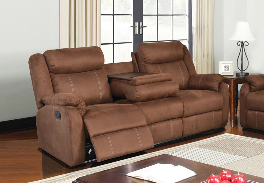 Global Dual Reclining Sofa with Drop Down Table in Rider Brown