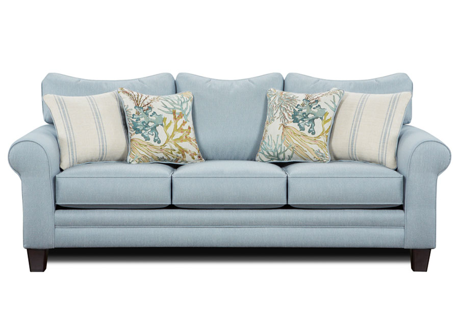 Fusion Labyrinth Sky Queen Sleeper with Coral Reef Caribbean and Wakefield Chambry Accent Pillows