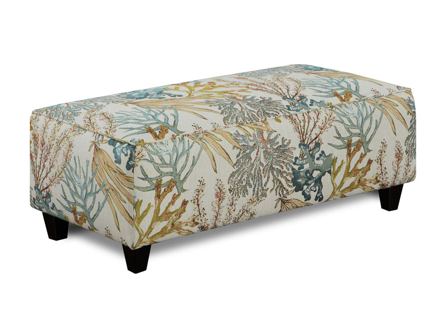 Fusion Rectangle Ottoman Coral Reef Caribbean