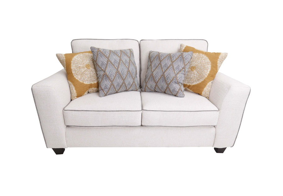 Fusion Sugarshack Glacier Loveseat with Shibori Sol Amber, Rhonbi Greyston, and Flicker Amber Accent Pillows