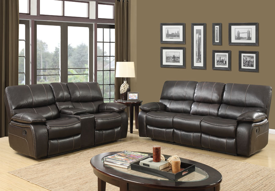 Global Agnes Espresso Reclining Sofa and Reclining Console Loveseat in Leather Gel