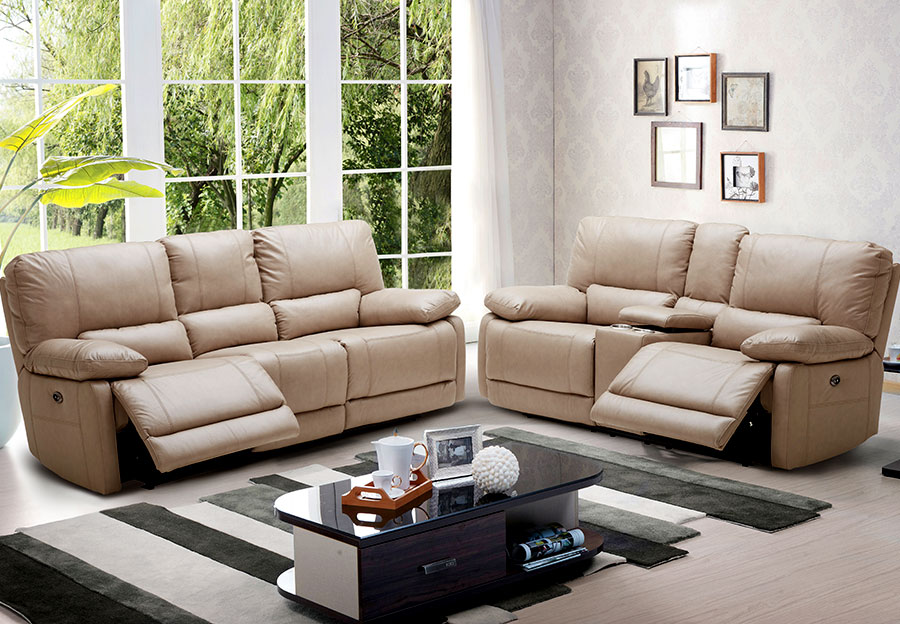 Kuka Maui Sand Reclining Sofa and Reclining Console Loveseat Leather Match