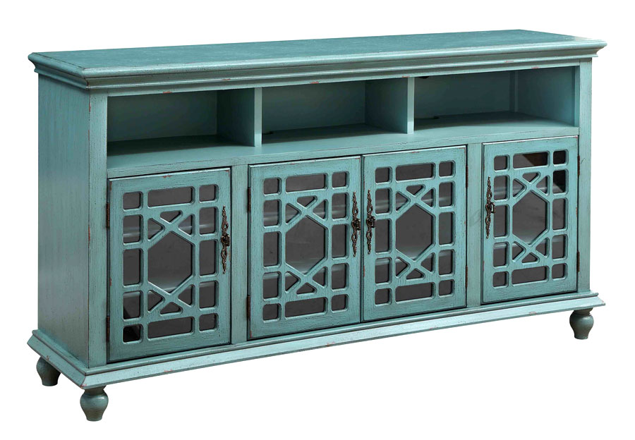 Coast to Coast Teal Four Door Media Credenza