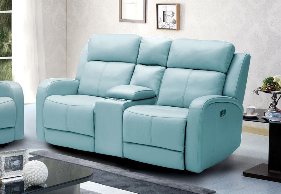 Kuka Milano Light Blue Reclining Console Loveseat - Leather Match