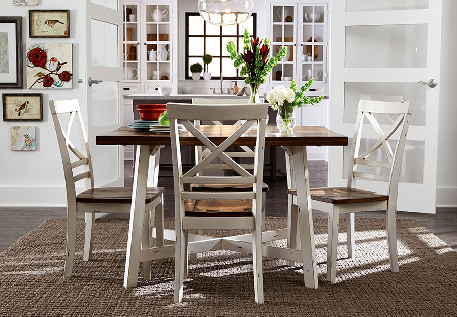 Standard Amelia White Dining Table and Four Chairs