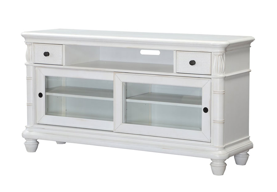 Panama Jack Isle of Palm White Plasma Console with Two Drawers and Sliding Glass Doors