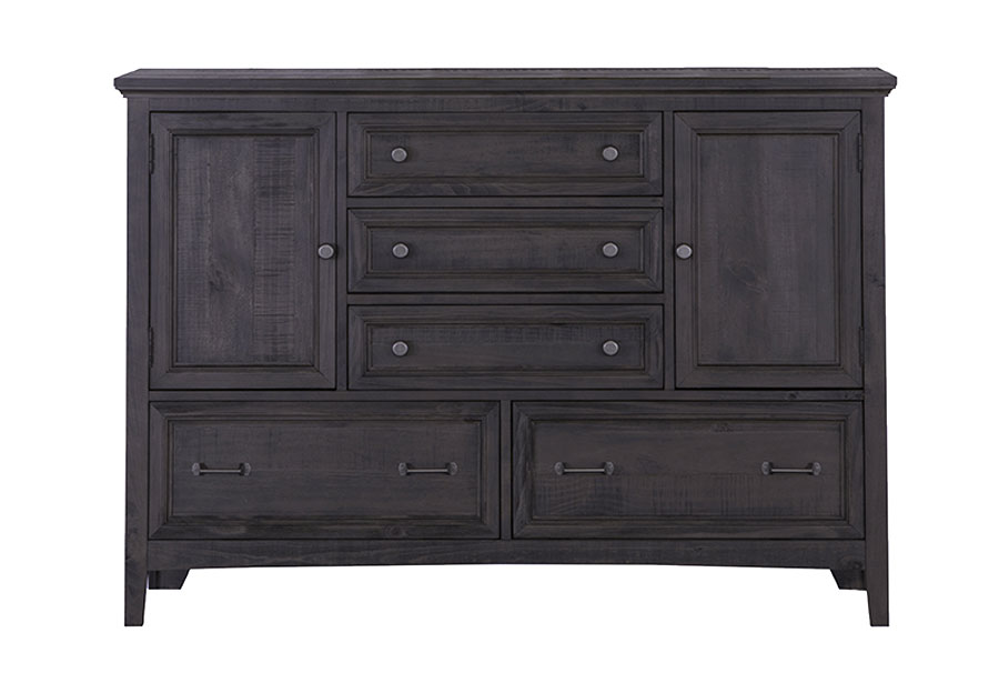 Magnussen Mill River Five Drawer Dresser With 2 Doors, Weathered Charcoal Finish