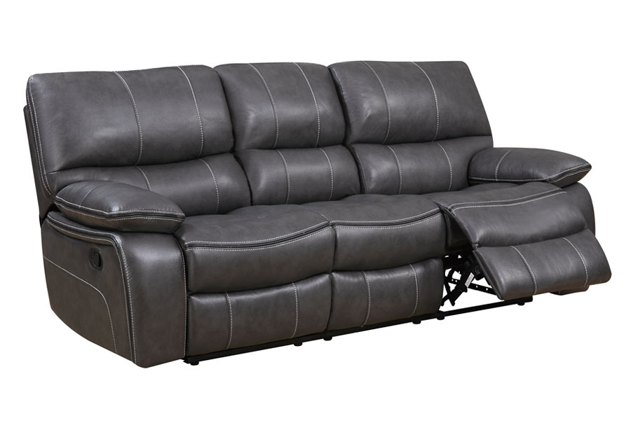Global Agnes Grey Reclining Sofa in Leather Gel