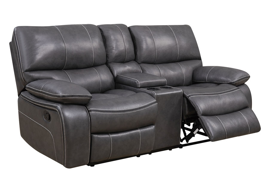 Global Agnes Grey Reclining Console Loveseat in Leather Gel