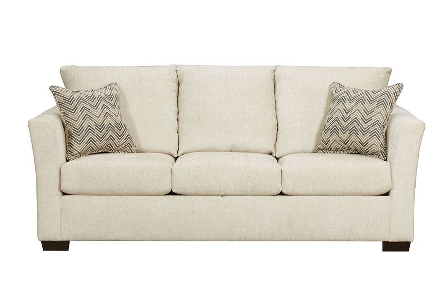 Lane Elan Linen Queen Sleeper Sofa With Webster Olive pillows