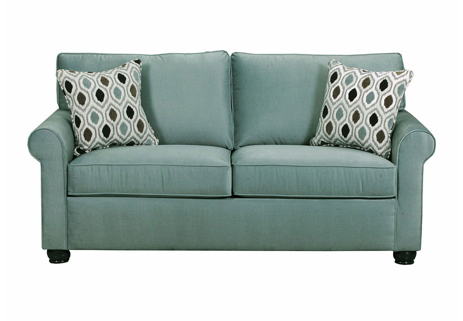 Lane Jojo Spa Loveseat With Preston Mocha pillows