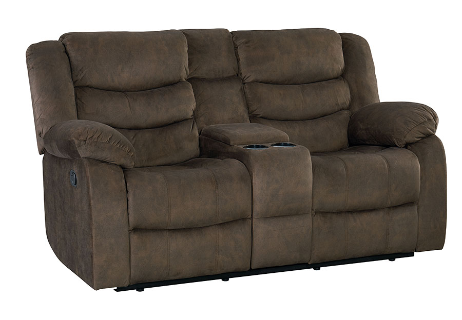 Standard Ridgecrest Dark Brown Reclining Console Loveseat
